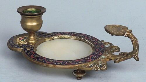 Old Russian ? Champleve Bronze Candle Holder w White Jade Colored Hardstone VR