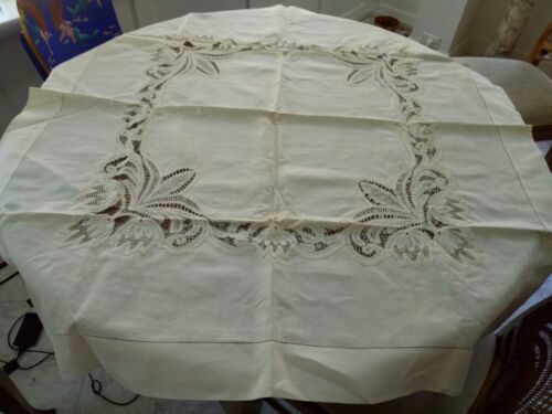 Beautiful stiff linen and lace antique/vintage tablecloth; small square shape