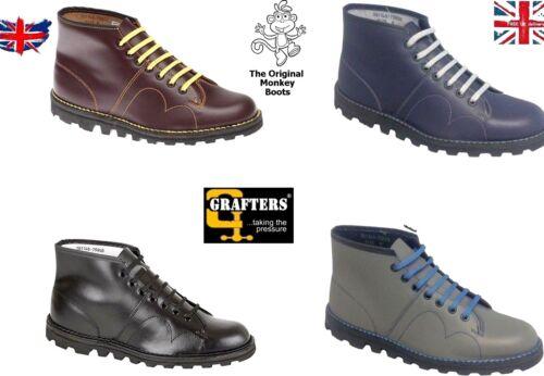 Original Monkey Boots Grafters Mens Womens Unisex Retro Leather Shoes Size 3 -12