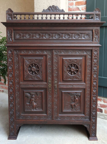 Antique FRENCH Carved Walnut Breton Brittany Bookcase Wall Cabinet Normandy