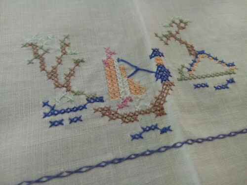 Vintage embroidered Chinoiserie tablecloth; FREE POST
