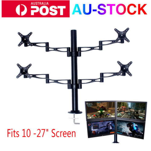 """4 Arms 10-27"""" LCD Screen Monitor Stand Desktop Mount Bracket Computer Display AU"""
