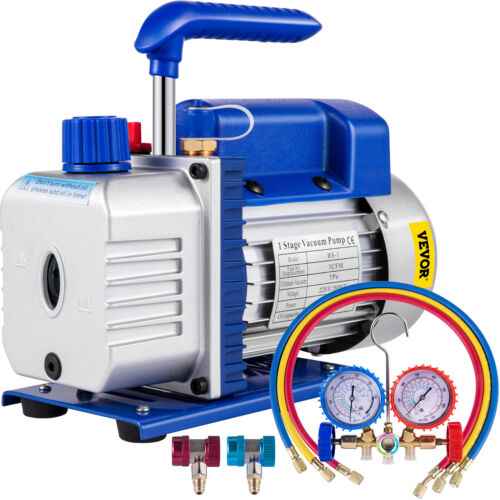 Single Stage - 3 CFM REFRIGERATION AIR CONDITIONING VACUUM PUMP + R410a GAUGES <br/> ♪♪Anti-Flow Back ♪♪Easy Monitoring ♪♪2-Year Warranty