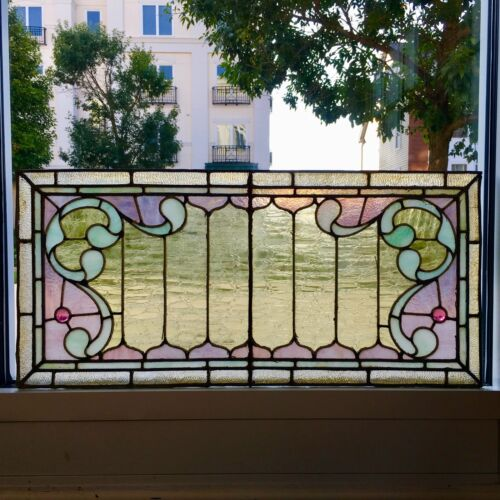 A+ Antique American Scroll Geometric Leaded Stained Jeweled Glass Window 34 x 16