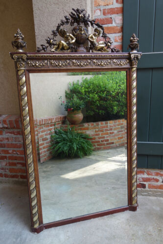 Antique FRENCH Wood Gold Gilt Frame PIER Mirror Gesso Angel Victorian Louis XV