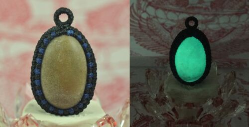 Night Pearl Thai Amulet Buddha Luminous Fluorescent Ancient Jade Relics Stone