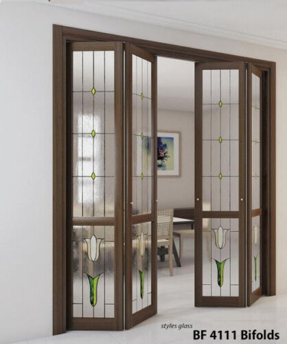 Stained Glass Bifold Panels in Solid wood