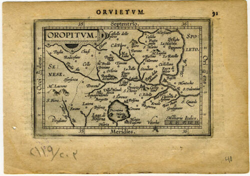 1609 Genuine Antique miniature map Italy, Orvieto. by A. Ortelius
