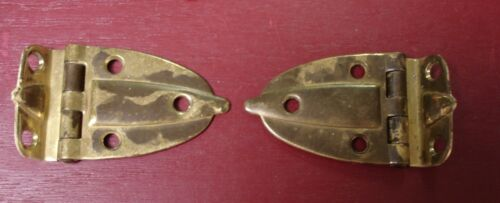 2 VINTAGE MID CENTURY SOLID BRASS ART DECO CABINET HINGES #0
