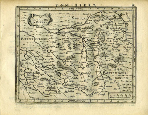 1651 Genuine Antique map of France. Tours. by Mercator