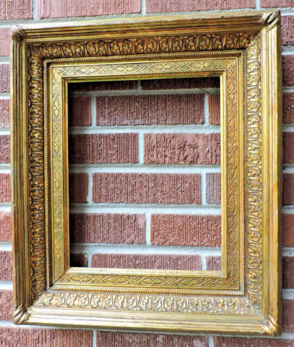 Antique 19C Ornate FRENCH SALON Picture Frame GILT Gold Wood 10 7/8 x 13 1/4 Fit