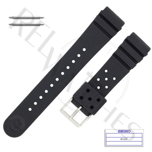 Genuine SEIKO 4F24ZZ 22mm Black Rubber Band + Pins | SKX Pro Diver Watch Strap