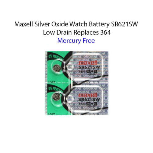 2 x MAXELL SR621SW 364 D364 602 1.55v Silver Oxide Watch Battery mercury free