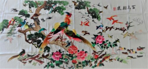Handwoven Silk Chinese Embroidery - 100 Birds (200 cm x 93 cm) #5