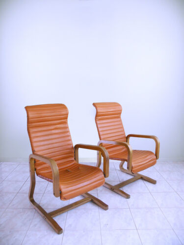 60s THONET mod vinyl danish CANTILEVER highback bentwood SPACE AGE lounge chairs