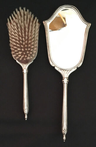 Antique Webster Sterling Silver Vanity 2 Two Piece Set Beveled Mirror and Brush