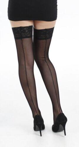 Tulle Seamed Lace Top Hold Ups - Black by Pamela Mann at  Bettyboob Very Sexy