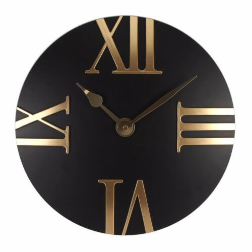 Beautiful Black and Gold Roman Numeral Clock 30cm W7453BK