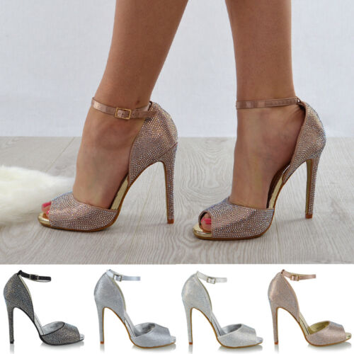 Womens Ankle Strap High Heel Diamante Wedding Shoes Ladies Peep Toe Party Prom