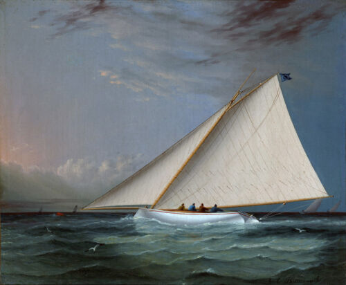 A Racing Yacht on the..by James Buttersworth  Giclee Canvas Print Repro