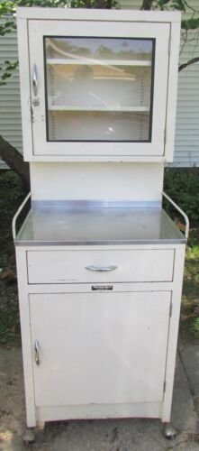 Vintage White Metal School Medical Dental Apothecary Cabinet With Glass Door