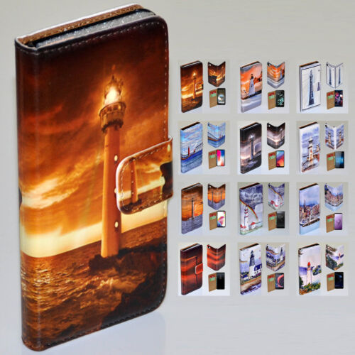 For Nokia Series - Lighthouse Tower Print Theme Wallet Mobile Phone Case Cover