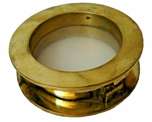 Marine BRASS PORT HOLE / Window / Porthole - 4 INCHES - TOUGHENED GLASS
