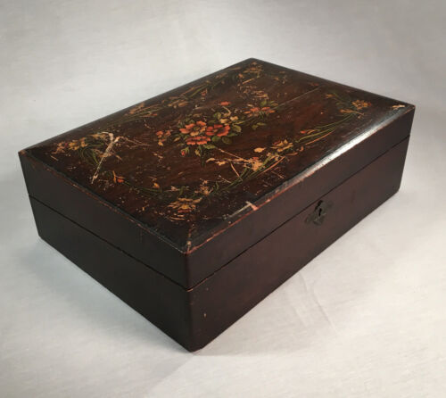 Antique Victorian Writing Box Travel Desk Stationary Box with Ink Well