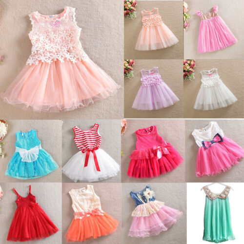 Girl Dress Lace TuTu Party Birthday Dress Multi Designs Size 3 months to 8 years