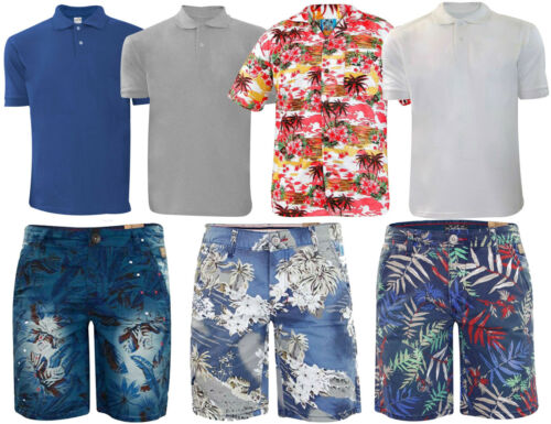 New Mens Polo Tshirts Hawaiian Shirt Pique Bermuda Beach Shorts & Plain Shirts