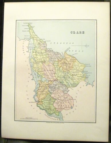 Irish Map County CLARE Baronies Ireland Ennis Shannon Estuary Thomas Kelly 1882