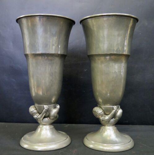 Vintage Period Pair of Art Deco Vases by Van Dugteren
