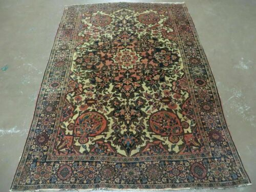 4' X 6' Antique Fine Hand Made PERSIAN Sarouk Farahan Wool Rug Carpet Blue Nice