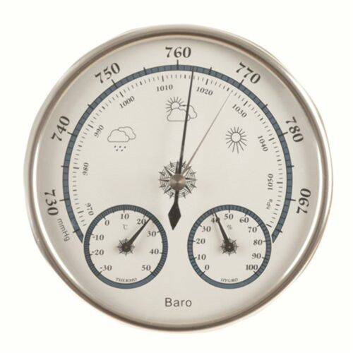 Contemporary Style Circular Barometer with Thermometer and Hygrometer
