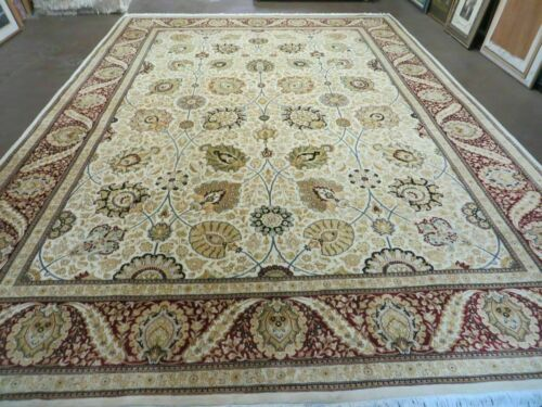 9' X 12' Vintage Hand Made Wool Rug Persian Tabriz Design Nice