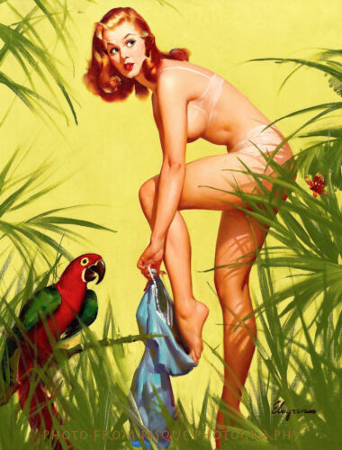 """Nude Woman In Paradise with Parrot 8.5x11"""" Photo Print Gil Elvgren Pinup Art"""