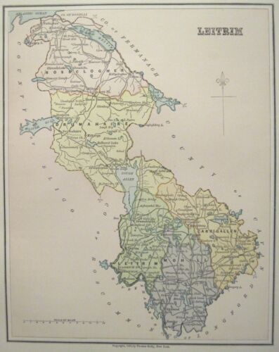 Irish Map County LEITRIM Midlands Ireland Midlands Lough Allen Thomas Kelly 1882
