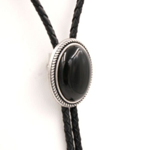 Hand Made Natural Black Onyx Stone Western Cowboy Leather Bolo Neck Tie