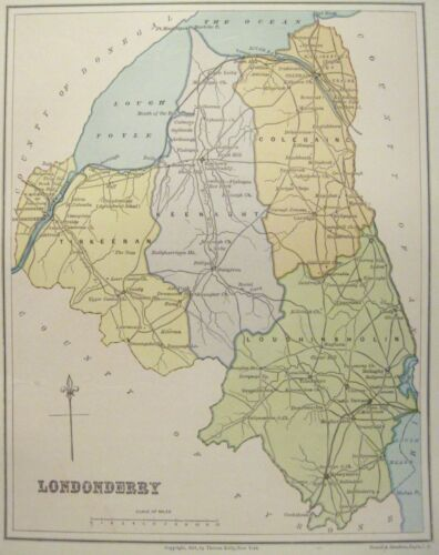 Irish Map County DERRY LONDONDERRY Northern Ireland Thomas Kelly 1881