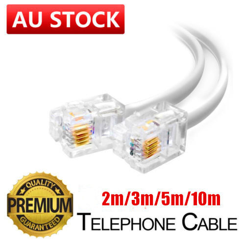2M 3M 5M 10M Telephone Phone Cord Cable Plug Extension for ADSL 2 Filter Fax OZ