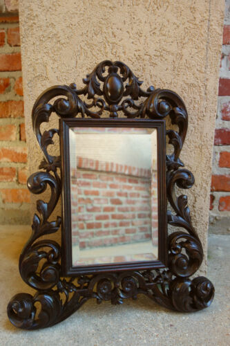 Petite Antique French Carved Dark Oak BEVELED WALL MIRROR Victorian Louis XV