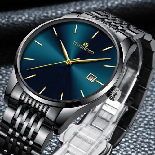 Fashion Men's Watches Stainless Steel Date Waterproof Sport Quartz Wrist Watch