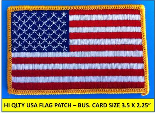 "USA AMERICAN FLAG EMBROIDERED PATCH IRON-ON SEW-ON GOLD BORDER (3½ x 2¼"") Patches - 113337"