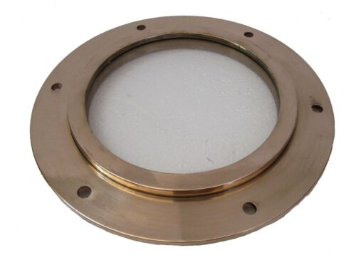 Marine BRASS PORT HOLE / Window / Porthole - 6 INCHES - TOUGHENED GLASS (5227)