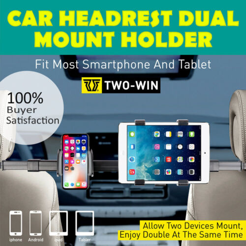 Auto Car Seat Headrest Phone Holder 360° Rotating Dual Mount For iPad Tablet