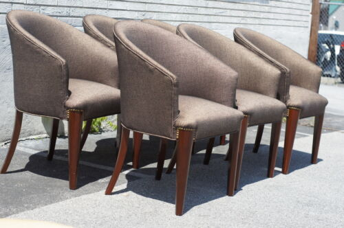 great 6 rose Wood Modern dining room Chairs 1900s Newly Upholstered & Restored