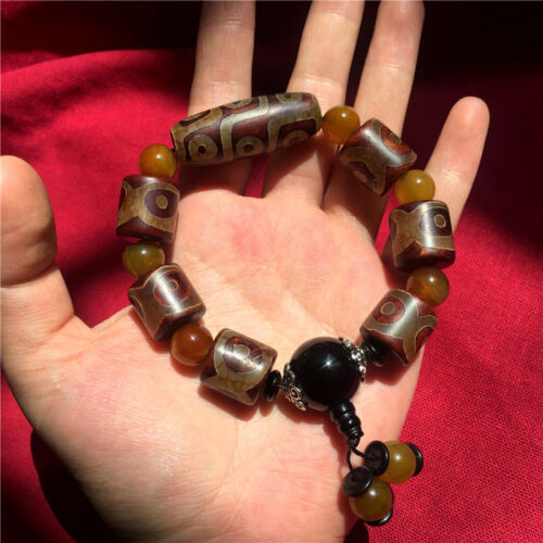 Old Tibet Hand Carved Natural Agate 9 Eye Beads Tianzhu Bracelet Amulet