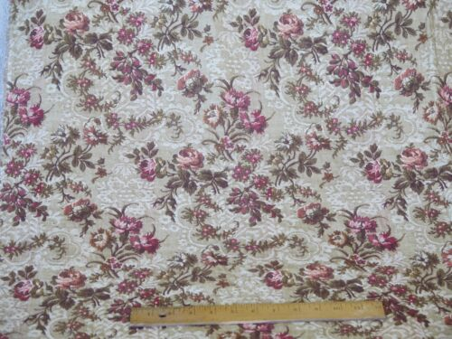 """French Antique 1920s Romantic Rose Floral Tapestry Fabric~40""""L  X 49""""W"""