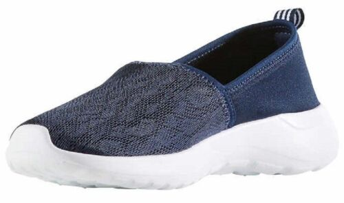 Adidas Women's Blue White CF Lite Racer Cloudfoam Slip On Sneaker Shoes AC8476