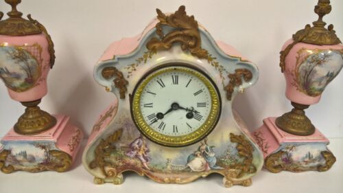 Antique Clock Set Sevres Mantle Marti Jacob Petit Hand Painted Porcelain Ormolu